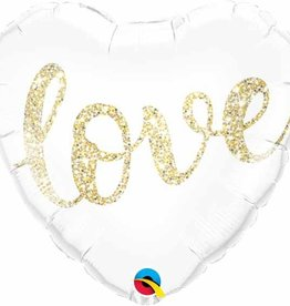 "Glitter Heart Love 18"" Mylar Balloon"