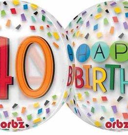 """40th Birthday Rainbow 22"""" Bubble Balloon"""
