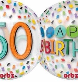 """50th Birthday Rainbow 22"""" Bubble Balloon"""