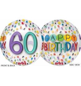 """60th Birthday Rainbow 22"""" Bubble Balloon"""