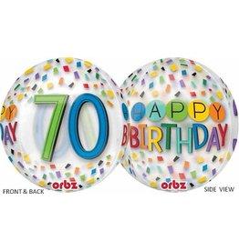 """70th Birthday Rainbow 22"""" Bubble Balloon"""