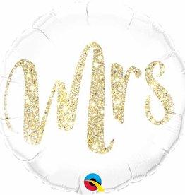 "Mrs. Glitter Gold 18"" Mylar Balloon"