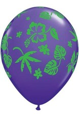 "11"" Printed Tropical Flora Balloons 1 Dozen Uninflated"