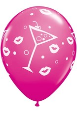 "11"" Printed  Mixed Drinks & Bubbly Balloon 1 Dozen Uninflated"
