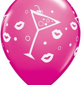 """11"""" Printed  Mixed Drinks & Bubbly Balloon 1 Dozen Uninflated"""