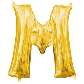 "Air-Filled Letter ""M""- Gold Balloon"