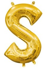"Air-Filled Letter ""S""- Gold Balloon"