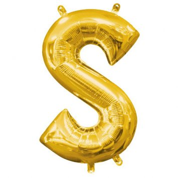 """Air-Filled Letter """"S""""- Gold Balloon"""
