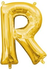 "Air-Filled Letter ""R""- Gold Balloon"