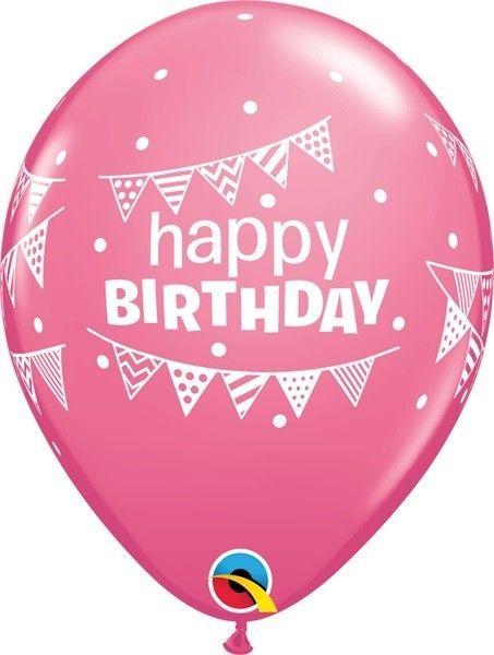 "11"" Printed Birthday Pennant and Dots Latex Balloons 1 Dozen Flat"