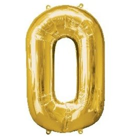 Gold #0 Number Shape Mylar Balloon