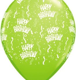 "11"" Printed  Birthday Around Lime Balloons 1 Dozen Flat"