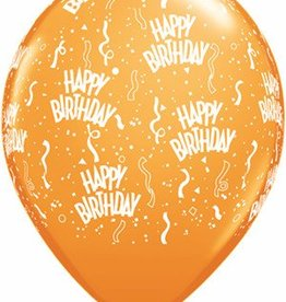 "11"" Printed  Birthday Around Mandarin Orange Balloons 1 Dozen Flat"
