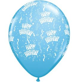 "11"" Printed  Birthday Around Pale Blue Balloons 1 Dozen Flat"