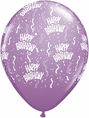 "11"" Printed  Birthday Around Spring Lilac Balloons 1 Dozen Flat"