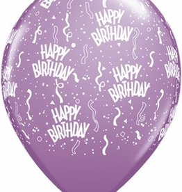 "11"" Printed  Birthday Around Spring Lilac Balloons 1 Dozen Flat"