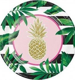 "Pineapple Wedding Foil 10"" Plate (8)"