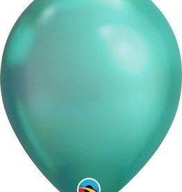 "11"" Chrome Green Qualatex Balloon 1 Dozen Flat"