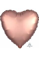 """Rose Copper Satin Heart 18"""" Mylar Balloon"""