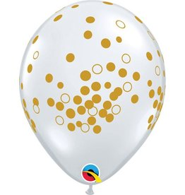 "11"" Printed Confetti Clear with Gold Dots Balloons 1 Dozen Flat"