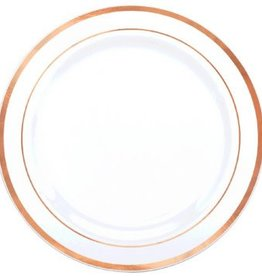 """Premium Plastic White Plates w/ Rose Gold Trim, 10 1/4"""" (10)"""