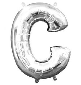 "Air-Filled Letter ""C""- Silver Balloon"
