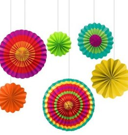 Fiesta Assorted Paper Fan Decorations