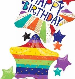 "Birthday Bright Stars 67"" Mylar Balloon"