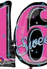 """Sweet Sixteen Sparkle 28"""" Mylar Balloon"""