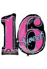 "Sweet Sixteen Sparkle 28"" Mylar Balloon"