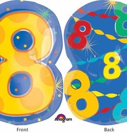 "#8 Multicolour Shape 18"" Mylar Balloon"