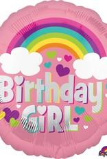 "Mylar Bday Girl Rainbow Fund 18"" Balloon"