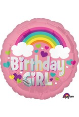 """Birthday Girl Rainbow Fun 18"""" Mylar Balloon"""