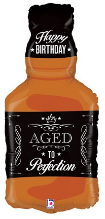 "Aged To Perfection Whiskey Bottle 34"" Mylar Balloon"