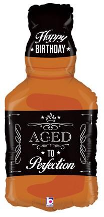 "Aged To Perfection Whiskey Bottle 34"" Mylar Balloon"
