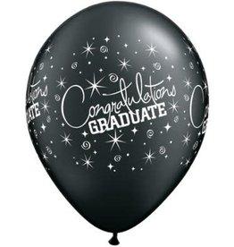 "11"" Printed  Congratulations Graduate Balloons 1 Dozen Flat"