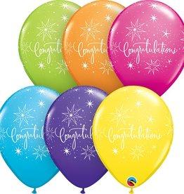 "11"" Printed  11"" Congratulations Elegant Tropic Balloons 1 Dozen Flat"