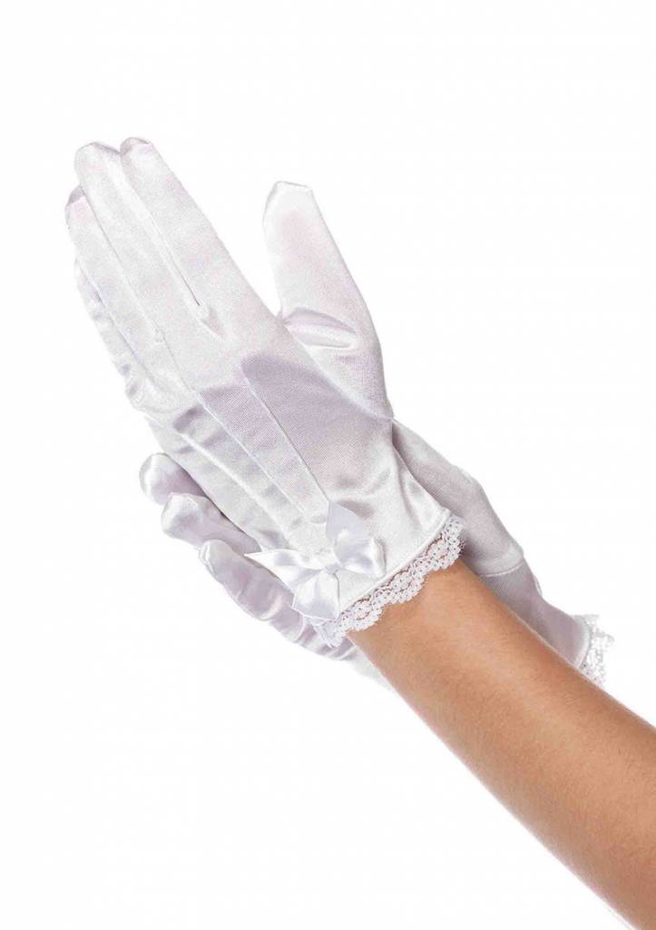 White Satin Lace Trimmed Gloves With Bow Large (Child Size)