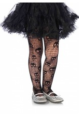 Skull Net Pantyhose Black Large (Child Size)