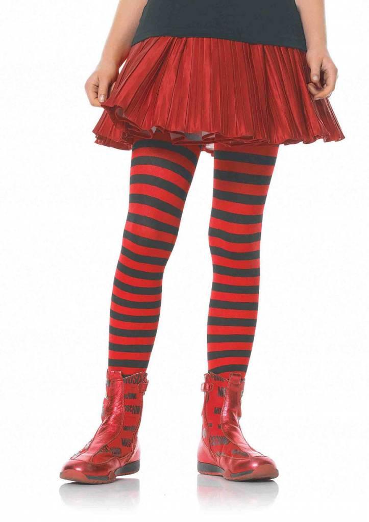 Red & Black Striped Pantyhose Medium (Child Size)
