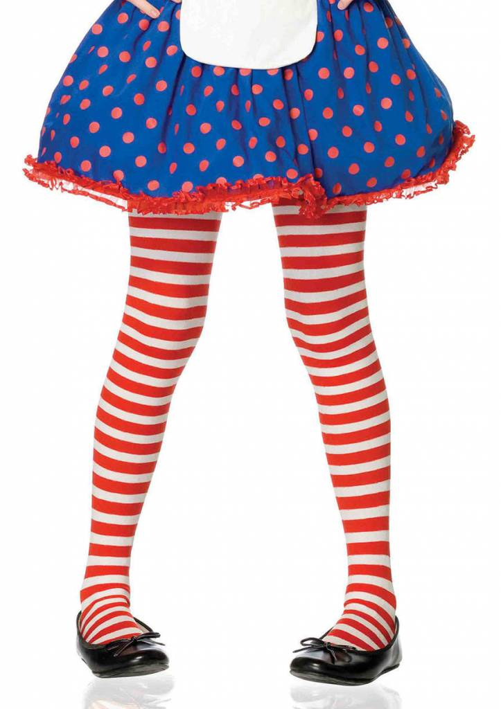 Red & White Striped Pantyhose Medium (Child Size)