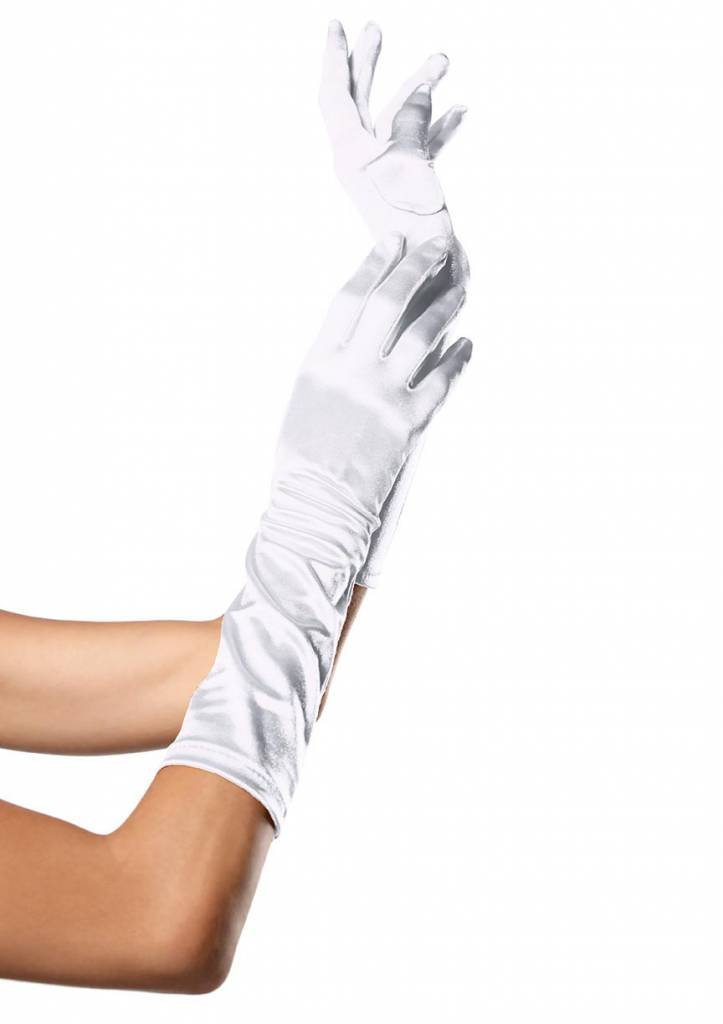 White Elbow Length Satin Gloves
