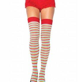 Mini Stripe Rainbow Thigh High Socks
