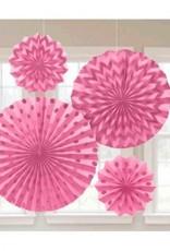 Pink Glitter Paper Fans (4)