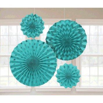 Robin's-egg Blue Glitter Paper Fans