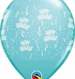 "11"" Printed  Birthday Around Caribbean Blue Balloons 1 Dozen Flat"