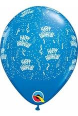 """11"""" Printed  Birthday Around Dark Blue Balloons 1 Dozen Flat"""