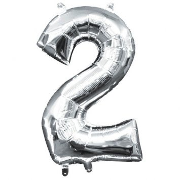 "Air-Filled Number ""2""- Silver 16"" Balloon"