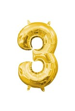 "Air-Filled Number ""3""- Gold 16"" Balloon"