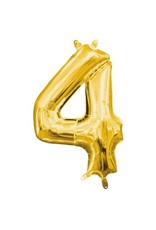 """Air-Filled Number """"4""""- Gold 16"""" Balloon"""